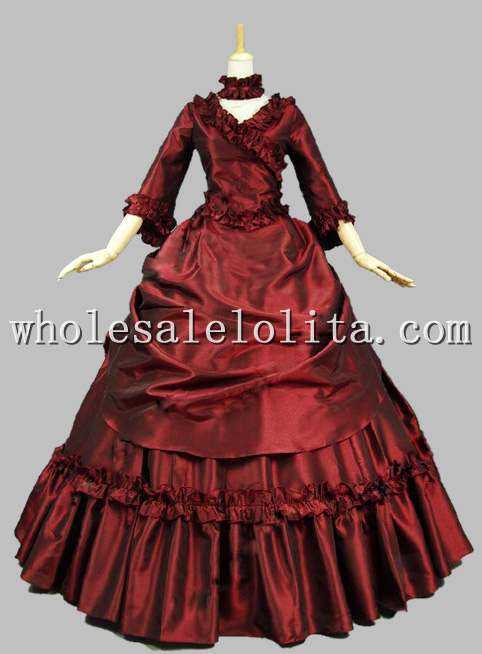 Wine Red Victorian French Bustle and Swag Dress Ball Gown
