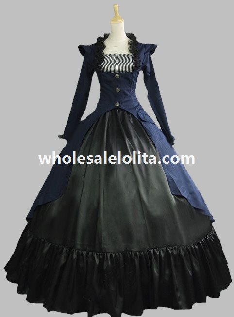 Victorian Blue and Black Steampunk Period Dress Masquerade Ball Gown ...