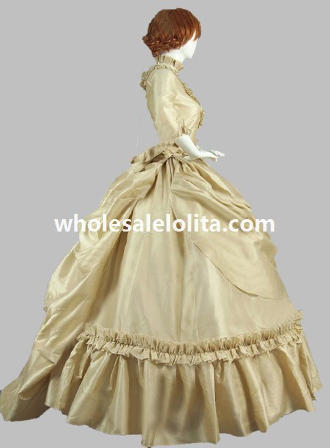 19th Century Champagne Victorian French Bustle and Swag