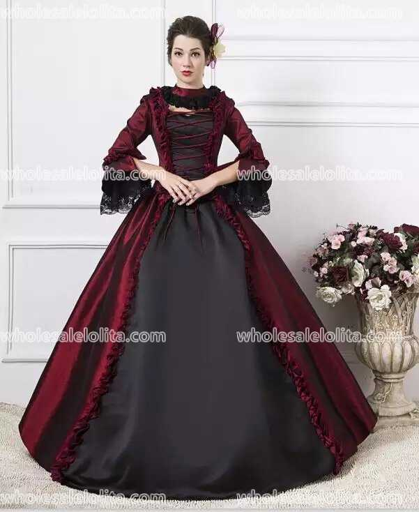 a54b126654d40 Burgundy Georgian Victorian Gothic Period Dress Masquerade Ball Gown  Reenactment Gown