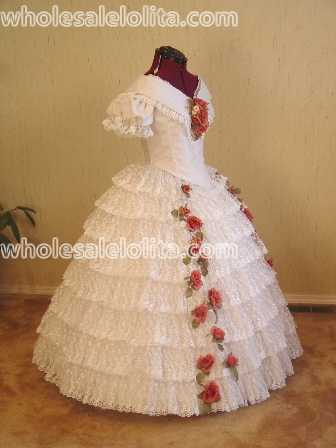 1860\'s Fashion Plate Short Sleeves Civil War Ball /Wedding Gown ...